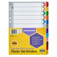 Marbig Dividers A4 Manilla Jan-Dec Tab Reinforced Colour