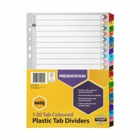 Marbig Dividers A4 Manilla Plastic Coloured Tab 1-20 Numbered