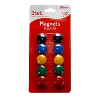 Stat Whiteboard Magnets 20mm Assorted Colours Pack 10