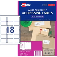 Avery L7161 Quick Peel Laser Address Labels with Sure Feed White 63.5x46.6mm 18/Sheet Pack 100