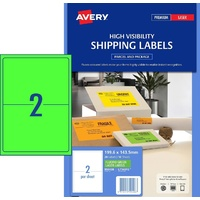 Avery L7168FG Laser Shipping Labels 199.6x143.5mm 20/Sheet Fluoro Green 10 Sheets