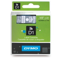 Dymo D1 Label Tape 12mmx7m White On Clear