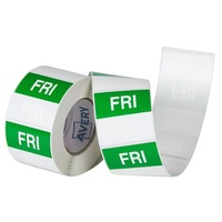 Avery Friday Day Labels 40x40mm Removable Green/White Roll 500