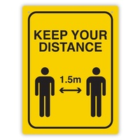 "Durus Sign ""Keep Your Distance 1.5m"" 225x300mm Black/Yellow"