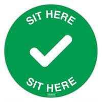 Durus Adhesive Chair Sign Sit Here 200mm Dia Green/White