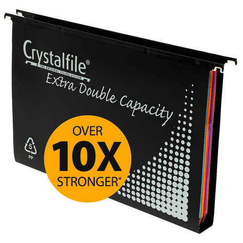 Crystalfile Extra Suspension Files Double Capacity Foolscap Black Pack 10