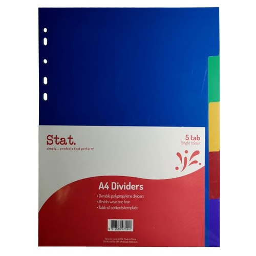 Stat Dividers PP A4 Coloured 5 Tab
