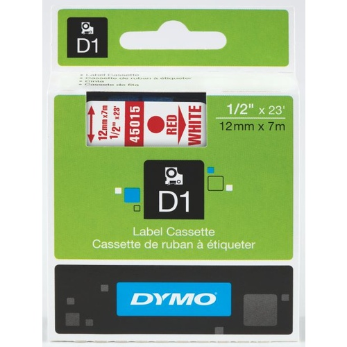 Dymo D1 Label Tape 12mmx7m Red On White